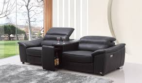 2 Seater Leather Recliner Sofa by Casa Donovan Modern Black Italian Leather Recliner Sofa With Wine