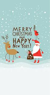 merry and happy new year snow reindeer santa navidad