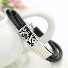 His And Hers Engraved Bracelets Ouyan Couples Bracelets Black Red Double Leather Bracelets Set