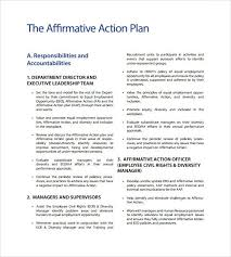 affirmative action plan template business template u0027s