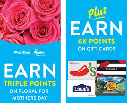 winn dixie plenti points on flowers and 6x points on gift