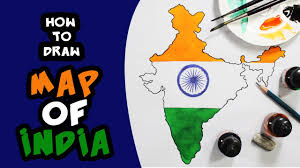 how to draw the map of india with flag for kids step by step