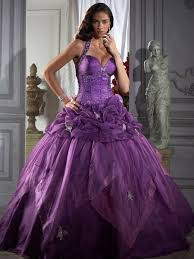 elegant purple organza beaded halter strap dropped waist ball gown