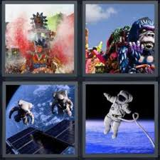 for parade 4 pics 1 word answer for parade balloon moon astronaut heavy