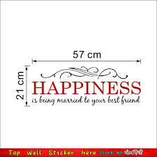 happiness married family quotes wall stickers for living room