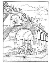 coloring page hanging gardens of babylon