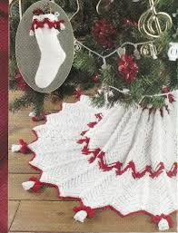 bells christmas tree skirt stocking crochet pattern ripple red