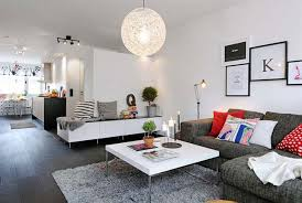 White Bedroom Grey Carpet Round Hang Lamp Grey Floor With White Wall And Modern Wallpaper