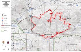 Wildfire Map America by Firefighters Battling South Fork Fire East Of Wawona California