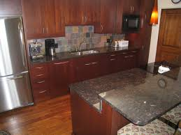 white concrete countertop oak cabinet dark brown concrete