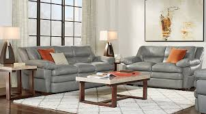 Gray Leather Sofa Aventino Gray Leather 2 Pc Living Room Leather Living Rooms Gray