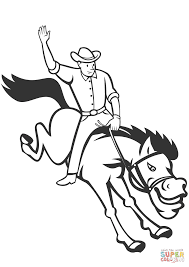 rodeo cowboy riding bucking bronco coloring page free printable