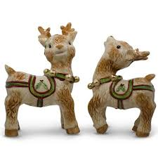 8 25 set of two ceramic reindeer figurines walmart