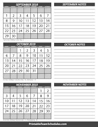 october november calendar 2019