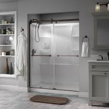 Dreamline Infinity Shower Door by Delta Mandara 60 In X 71 In Semi Frameless Contemporary Sliding