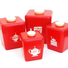 Pottery Kitchen Canisters Red Canister Set For Kitchen Kenangorgun Com
