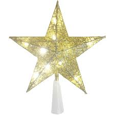 gold glitter 5 point lighted tree topper at home at home