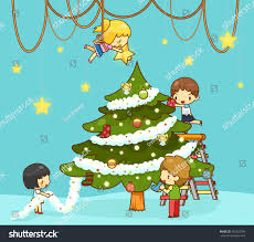 kids children boy friends decorating stock vector 345323789