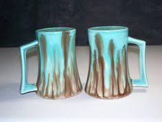 vintage drip glaze l vintage blue brown taupe lt sage floral glazed stoneware coffee mug