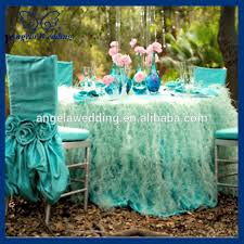 Crochet Armchair Covers Ch030b Fancy Wedding Ruffled Taffeta Tiffany Blue Chair Cover With