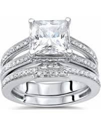 Wedding Set Rings by Amazing Deal On Noori 2ct Princess Moissanite And 3 4ct Diamond