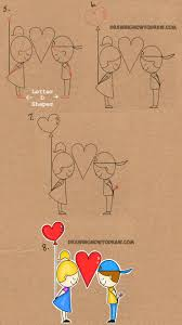 how to draw cartoon kids in love from the word love in this easy