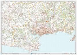 Wall Maps Bournemouth Bh Postcode Wall Map Xyz Maps