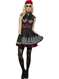 Halloween Costume For Women Day Of The Dead Sugar Skull Cat Costume For Women Wholesale