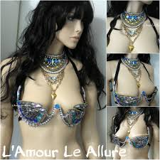 turquoise rihanna samba cage bra and necklace cosplay dance