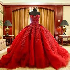 michael cinco luxury ball gown red wedding dresses lace top