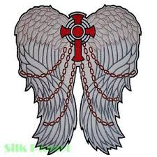 celtic cross wings chain jesus biker back patch motorcycle