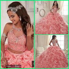 coral quince dress coral gown quinceanera dress sweet 16 dresses crystals