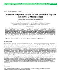 Maps G Coupled Fixed Points Results For W Compatible Maps In Symmetric G