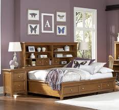 furniture cream maple wood king size bookcase headboard with