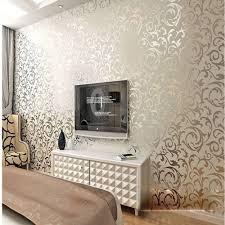 qihang high grade flocking victorian damask embossed wallpaper