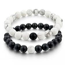 bracelets for distance bracelets for 2pcs black matte agate
