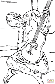 blue guitar by pablo picasso coloring page free printable