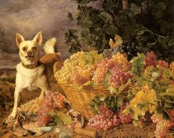 basket of fruits ferdinand georg waldmuller painting a dog by a basket of fruits