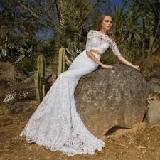 white lace mermaid two piece wedding dresses 2016 fitted sleeves