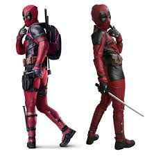 xcoser 2016 deadpool movie costume pu mask belt golves