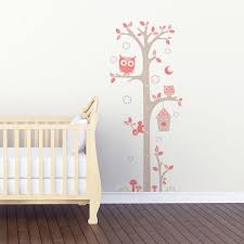 sticker mural chambre bébé sticker mural toise chouettes gris et motif bébé fille pour