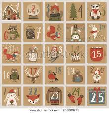 christmas advent calendar christmas advent calendar style stock vector 708809725