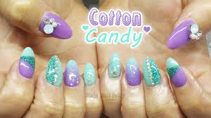 cute mint and lilac cotton candy inspired glitter acrylic nail art