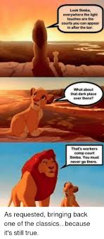 Workers Comp Meme - look simba everywhere the light touches are the courts you can