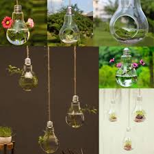 new hanging glass vase flower plant pot light bulb shape container