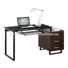 Computer Desk Lock China Computer Desk With Tempered Glass Tabletop And Drawers With