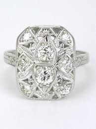 deco plaque metal art deco 18k white gold and diamond plaque ring 1930s u2013 antiques