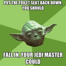 Toilet Seat Down Meme - put the toilet seat back down you should fall in your jedi
