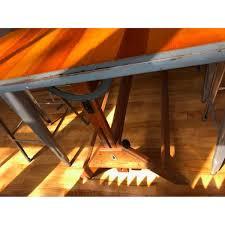 Antique Oak Drafting Table by Antique Oak U0026 Iron Drafting Table W 4 Stools Aptdeco