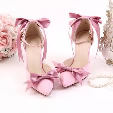 wedding shoes pink women s pink bow wedding shoes pointy toe stiletto heels ankle